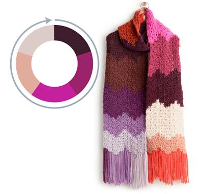 Caron Crochet Big Bargello Bands Scarf  Pattern