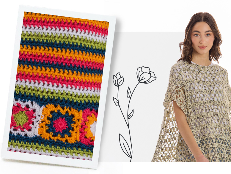 Crochet top and caron garden party crochet poncho