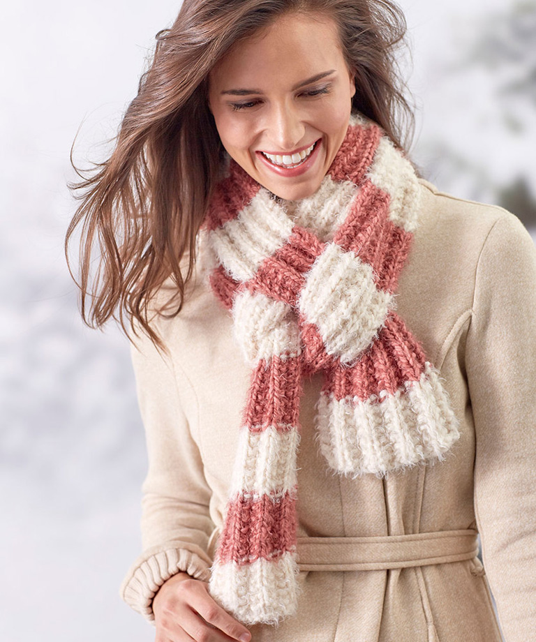 Fluffy Rib Stitch Scarf Free Knitting Pattern LM5690