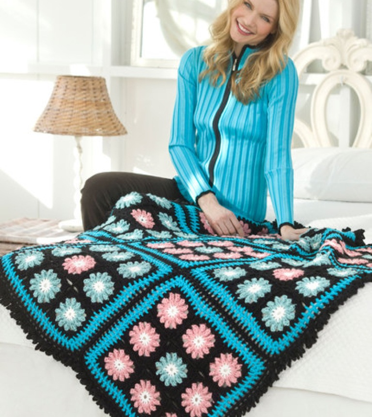 Intermediate Flower Accents Crochet Throw
