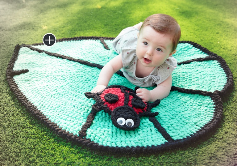Easy Lil' Leaf Crochet Playmat & Lady Bug Toy