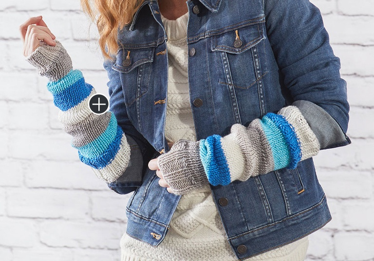 Easy Knit Stripes Arm Warmers