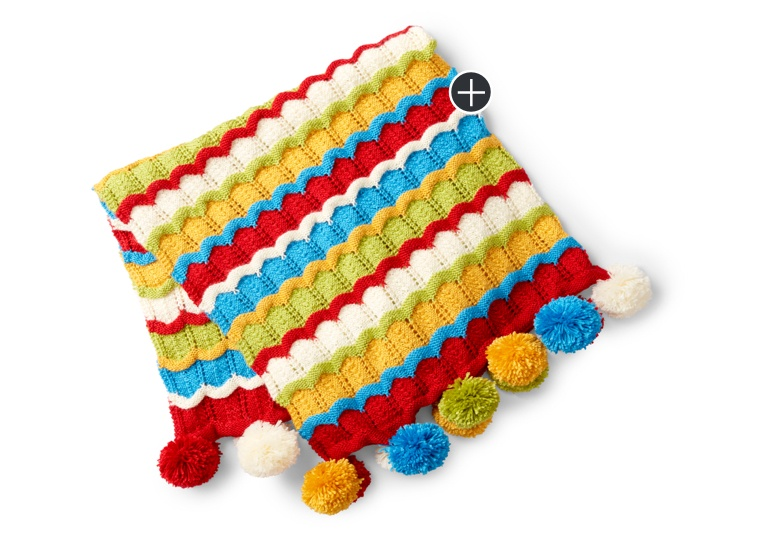 Intermediate Cheerful Ripple Knit Blanket