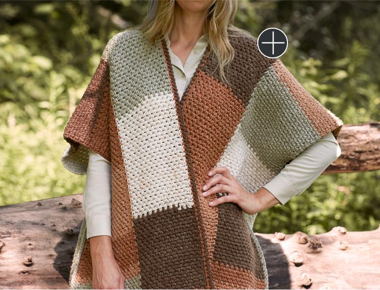 Easy Caron Crochet Colorblock Ruana