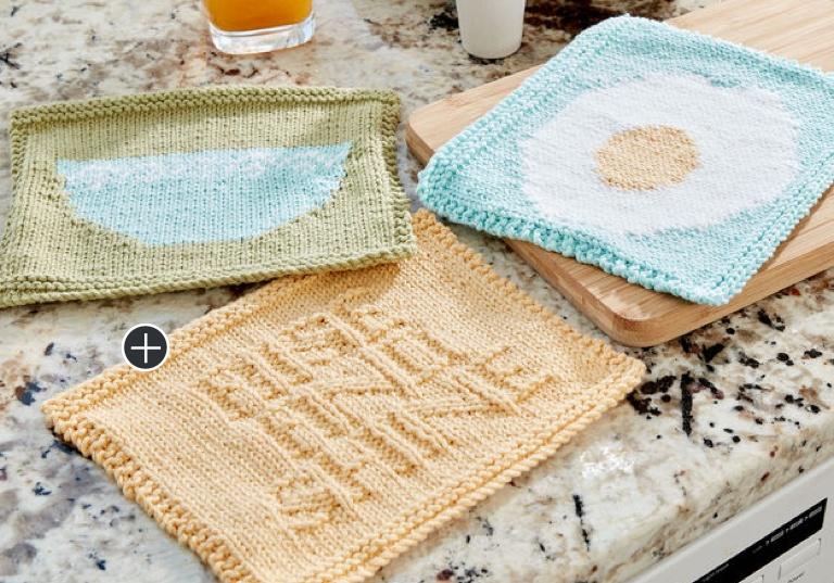 Intermediate Breakfast Dishcloth Knit Trio