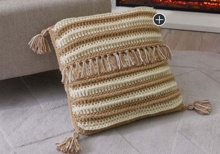 Easy Peaceful Stripes Crochet Pillow