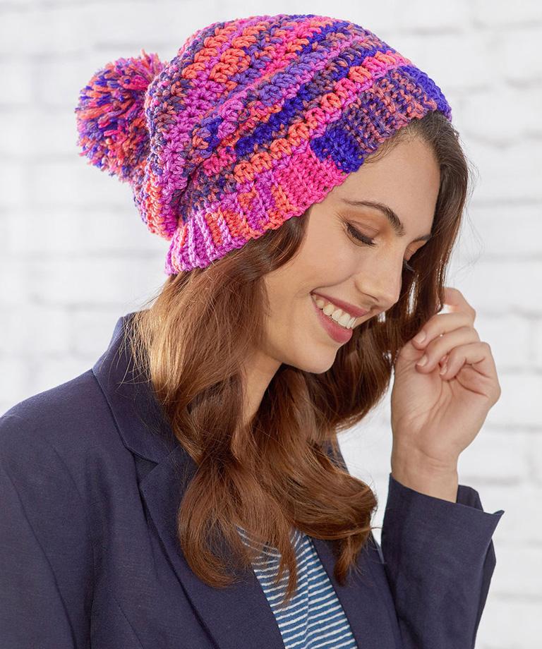 Crochet Fair Isle Hat Free Pattern LW6181