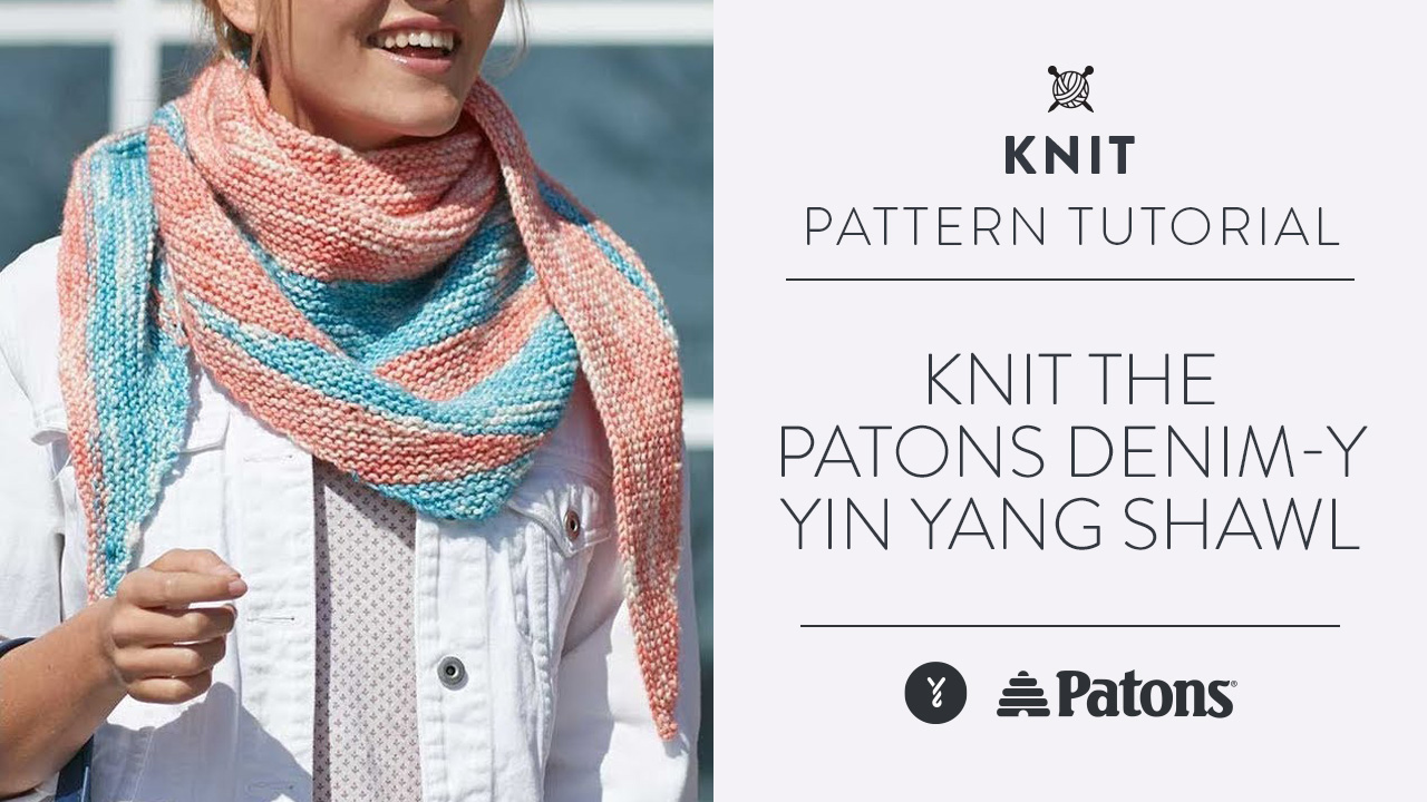 Knit the Patons Denim-y Yin Yang Shawl