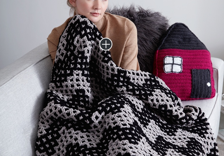 Intermediate Mosaic Chevron Knit Blanket