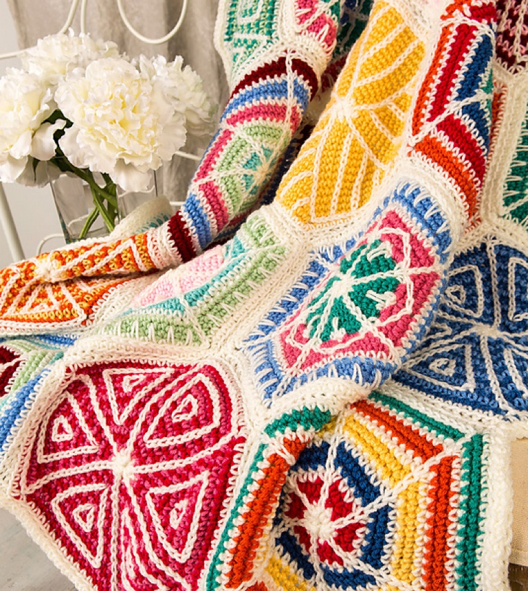 Intermediate Mandala Sampler Crochet Throw