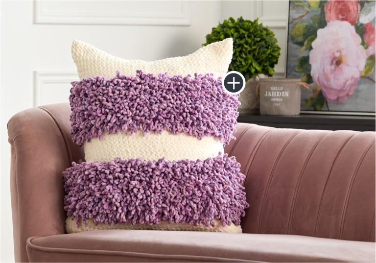 Easy Loopy Stripes Crochet Pillow