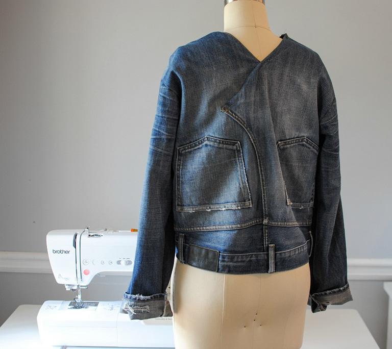 denim jacket on mannequin back view