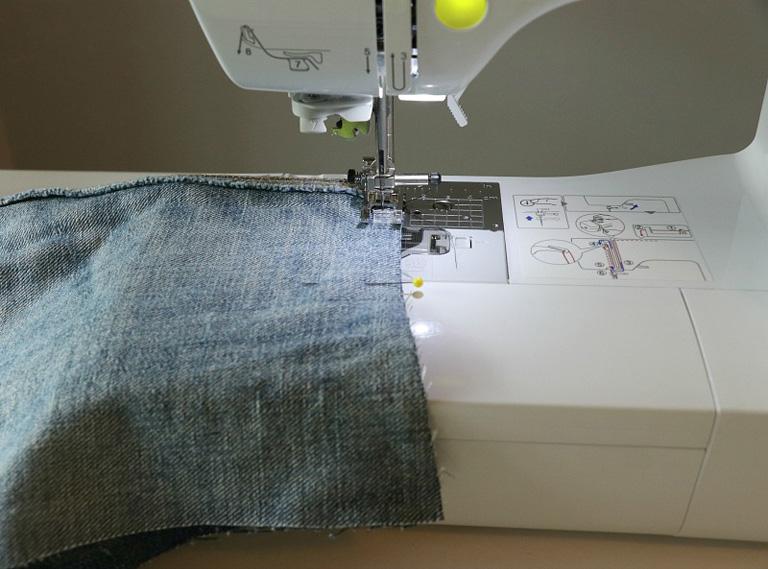 how to stitch bottom of denim photo