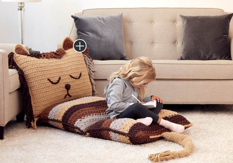 Easy Lion on the Floor Crochet Pillow