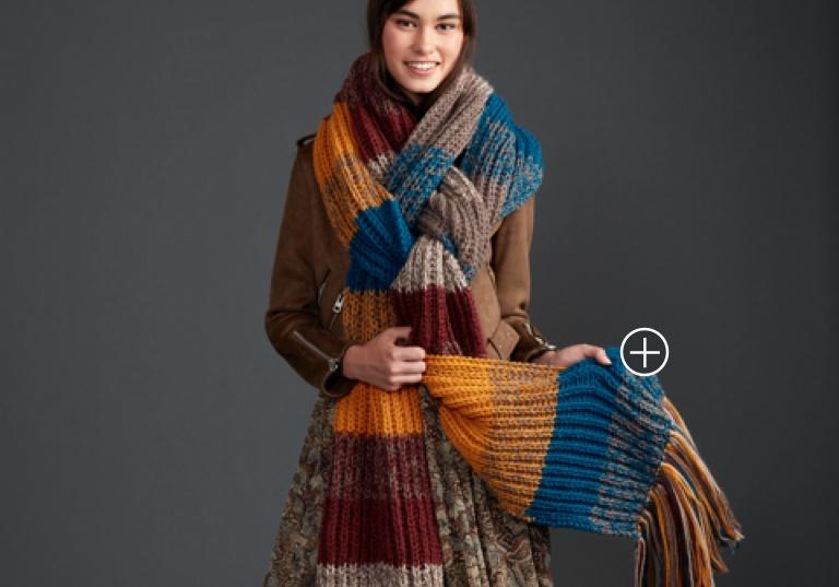 Intermediate Marl Stripe Knit Super Scarf