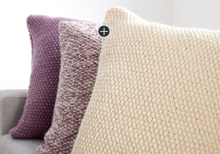 Beginner Seed Stitch Knit Pillow