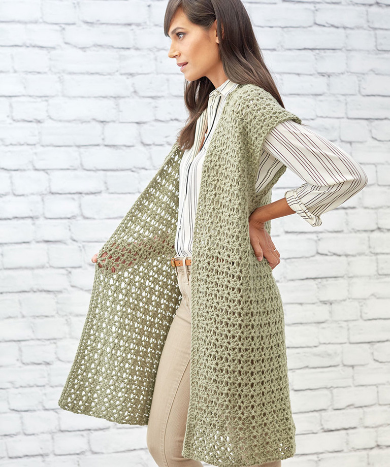 Sage Stitch Long Cardigan Free Crochet Pattern LW5851