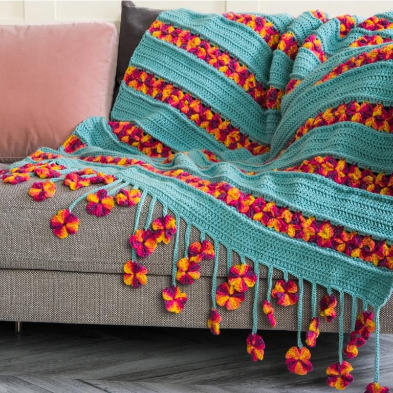 Intermediate Caron garden flowers crochet blanket
