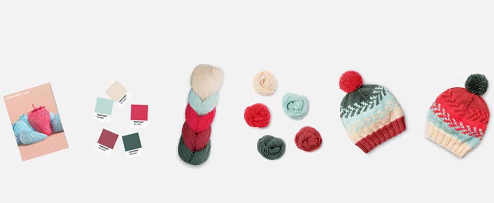 Caron x Pantone yarn and Knit Fair Isle Hat