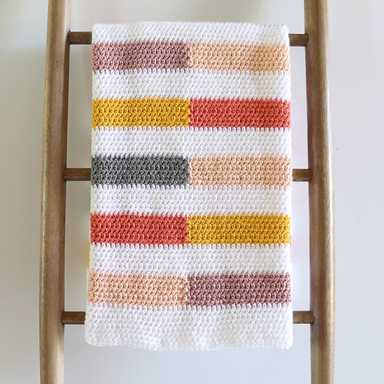 Crochet Colorful Half-Stripe Baby Blanket