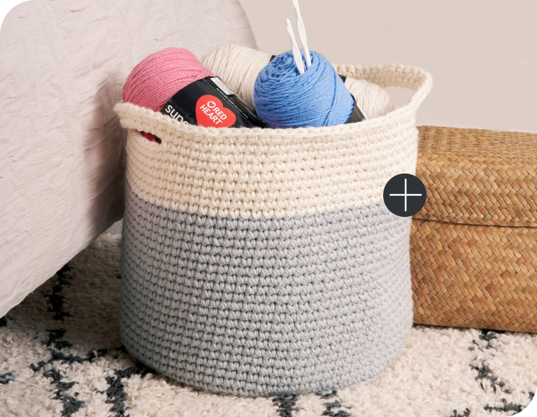 image of Red Heart Charming Color-block Crochet Baskets Blanket