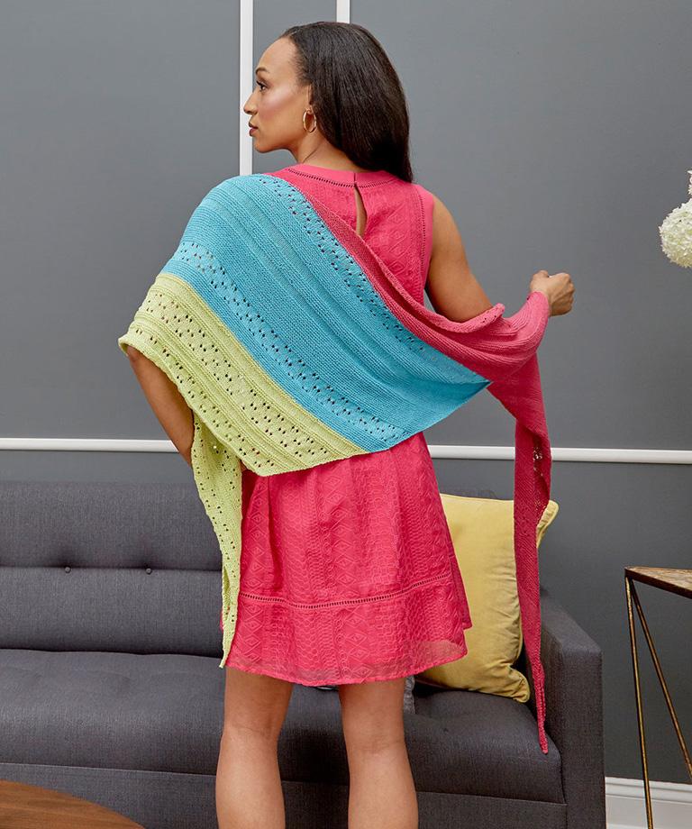 Asymmetrical Knit Shawl Free Pattern LW5700