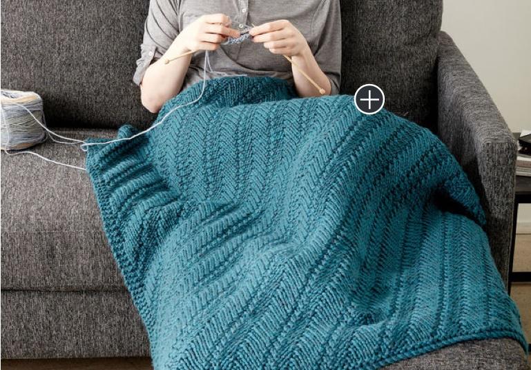 Easy Reversible Knit Lap Blanket