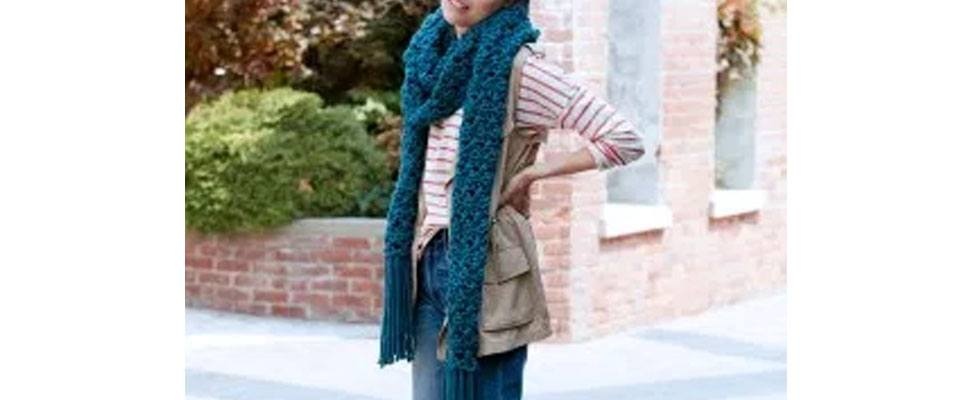 Crossing Paths Super Scarf in Bernat Softee Chunky yarn