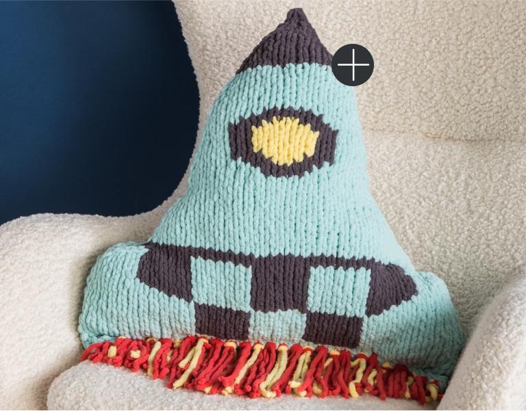 Bernat Knit Rocketship Pillow