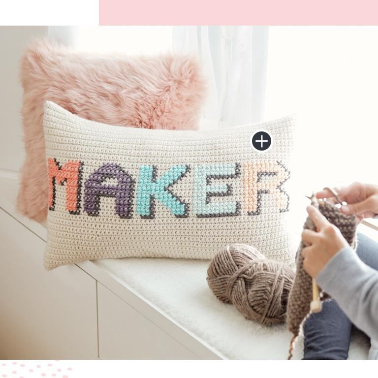 """Easy Crochet & Cross Stitch """"Maker"""" Pillow"""