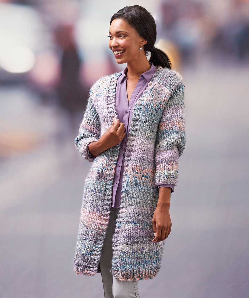 Cozy Long Cardigan in Collage
