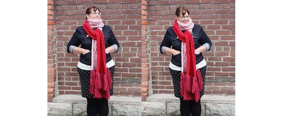 Argyle Cable Lace Knit Super Scarf in Bernat Roving yarn