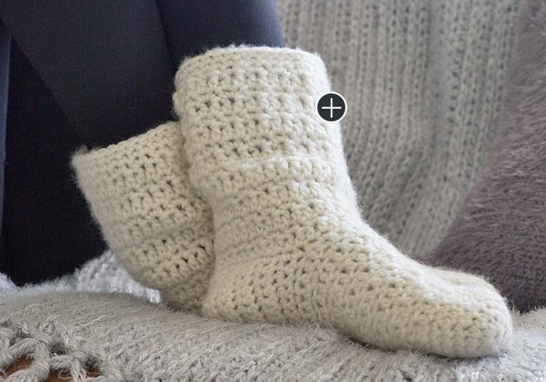 Intermediate At Home Slouchy Crochet Socks