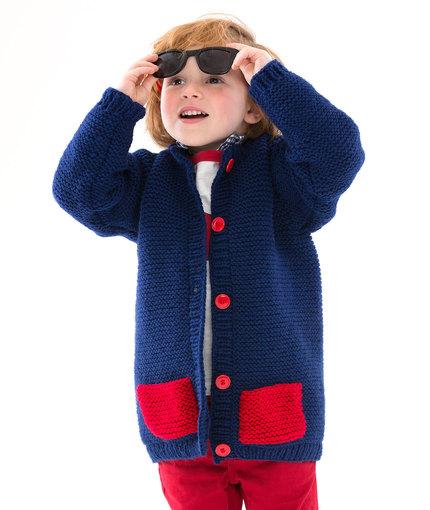 Too Cool Boy's Cardigan Free Knitting Pattern LW5189