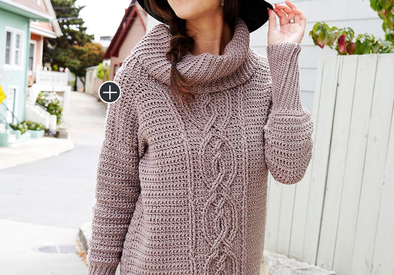 Intermediate Entwined Chic Crochet Cable Sweater