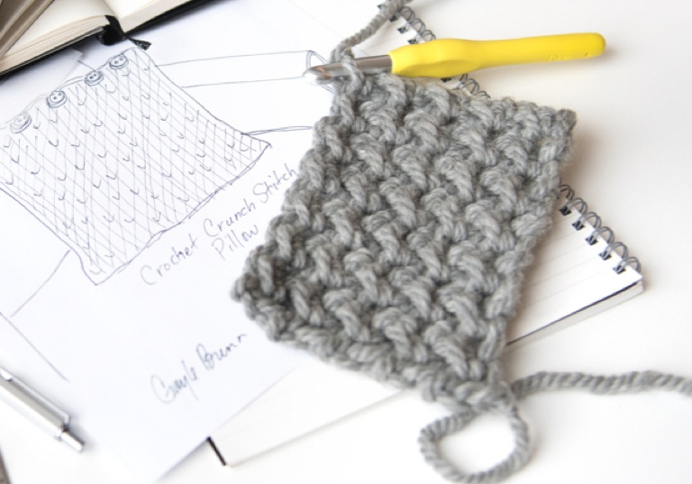 Beginner Crochet Crunch Stitch Pillow
