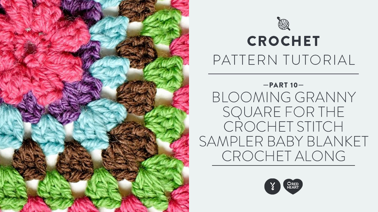 Blooming Granny Square for the Crochet Stitch Sampler Baby Blanket Crochet Along