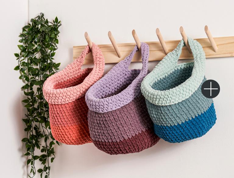 image of Bernat Crochet One And Done Hanging Basket Blanket