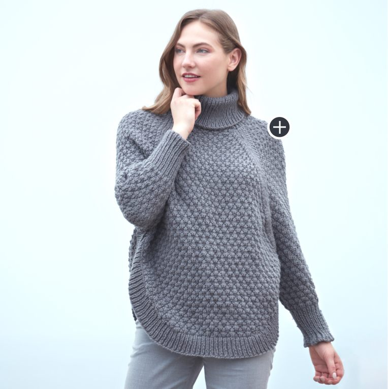 Intermediate Diamond Texture Knit Poncho