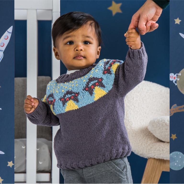 Intermediate Bernat UFO Yoke Knit Sweater