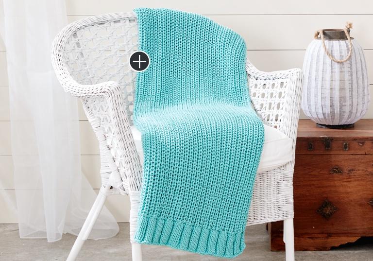 Easy Shaker Knit Rib Blanket