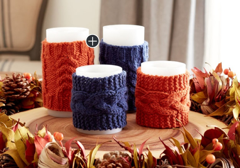 Intermediate Knit Cable Candle Cozies