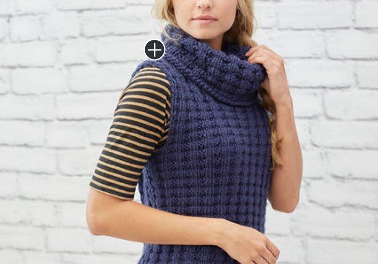 Easy Waffle Stitch Knit Vest