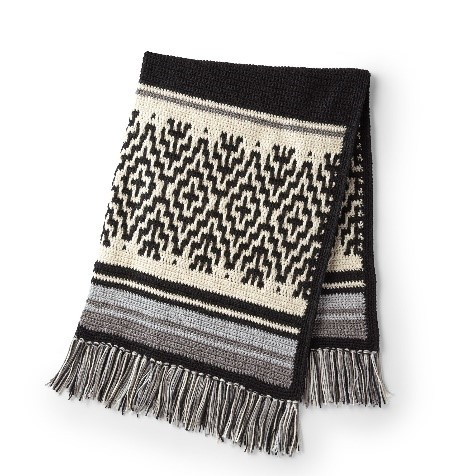 Red Heart Nordic Stripes Crochet Blanket