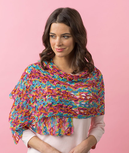 Happy-Go-Lacy Shawl Free Crochet Pattern LW4829