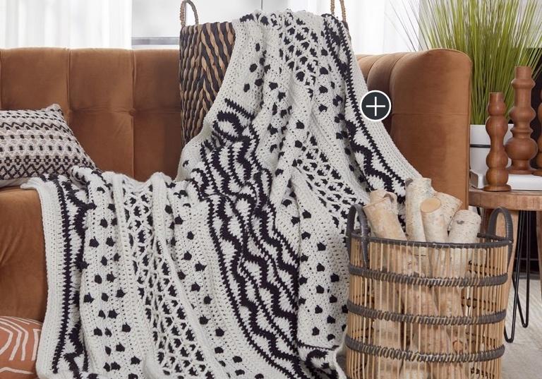 Intermediate Mud Cloth Inspired Crochet Throw