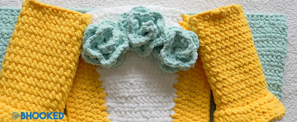 Work in progress shot of the Dreamy Princess Crochet Snuggle Sack pattern in Bernat Baby Blanket yarn