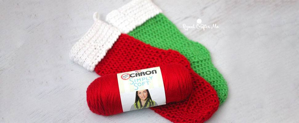 Caron Christmas Stocking in Caron Simply Soft yarn by RepeatCrafterMe