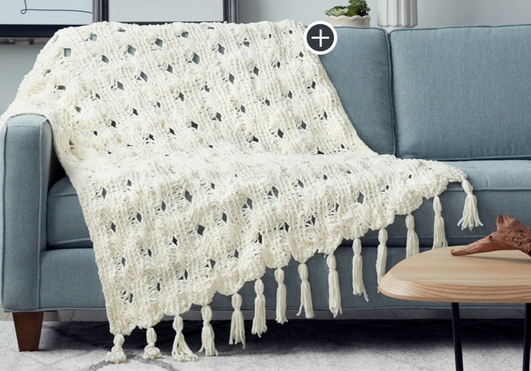 Intermediate Criss-Cross Stripes Knit Blanket