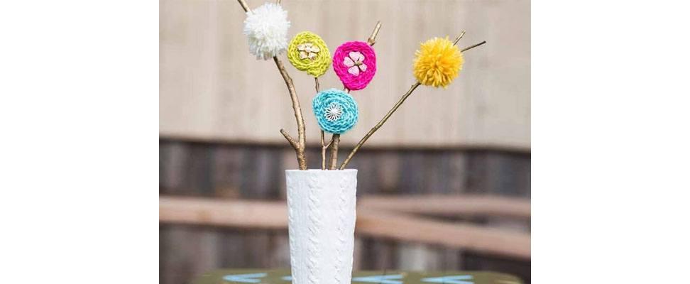 Pompom Flowrs for Mom